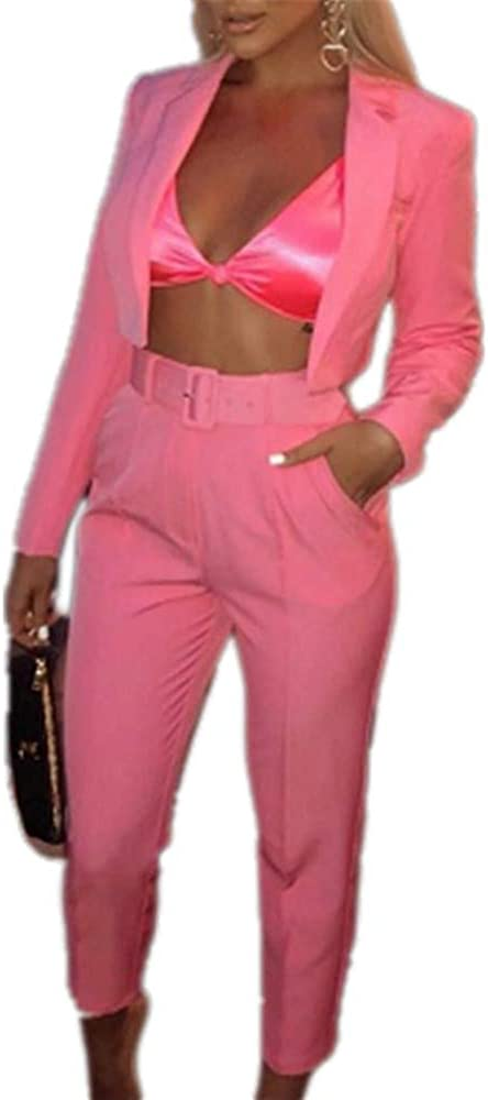 2 Piece Outfits for Women Long Sleeve Blazer Jacket with Pants Casual Pantsuits Sets