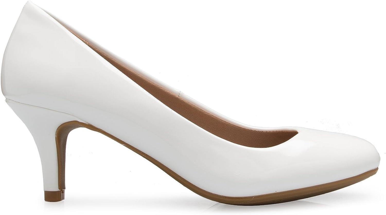 Olivia K Womens Comfort Classic Round Toe Kitten Low Mid Heel Dress Pumps