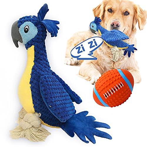 Hundespielzeug Unzerstörbar, Interaktives Plüsch Papagei, stabiles Quietschende, Innere Geknotete Seile & Minimale Füllung, Kauspielzeug Hunde Spielsachen für große & kleine Hunde, inkl. Ball