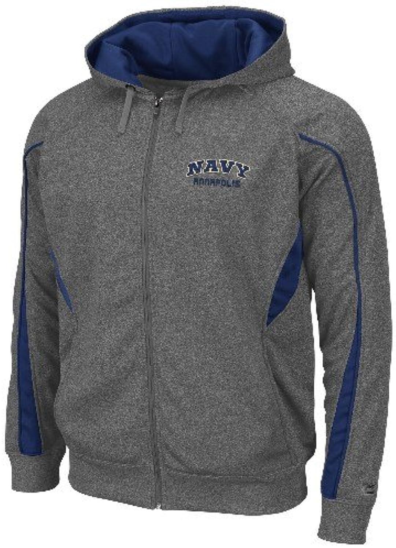 Navy Midshipmen NCAA Renegade Full Zip Hooded Sweatshirt - Charcoal