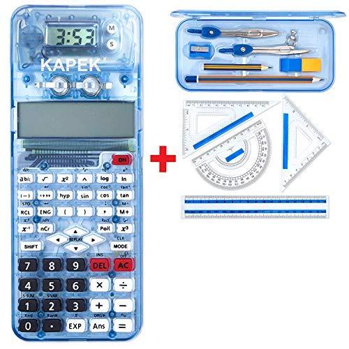 KAPEK Set de Matemáticas Calculadora Científica. Este Set de calculadora Escolar y geometría Escuela Secundaria (Azul)