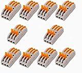 SHENTIAN Bloque de terminales multifunción 3 vías, bloque de terminales para conductores compactos, conector de acoplamiento para conector de cable (3 en 3 salidas 01)