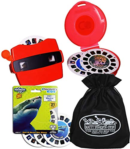 View-Master Classic 3D Adventures Discovery Boxed Set & Marine Life Refill Gift Set Bundle with Bonus Matty's Toy Stop Storage Bag - 2 Pack