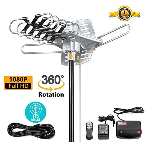 jeje TV Antenna Outdoor Amplified - Motorized 360 Degree Rotation - Digital HDTV Antenna - 150 Miles Range - Wireless Remote