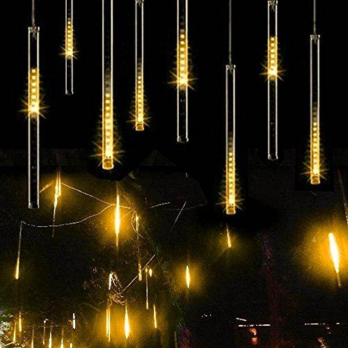 Luci di Pioggia, EONANT 30cm 10 Tubes 360LEDs Luci di Caduta Solare Luci da Doccia di Meteore Luci di Caduta di Pioggia per Alberi Feste Decorazione di Casa di Nozze (Warm White)