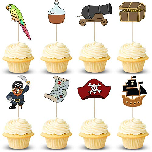 jxama 24PCS Pirate Ship Viking Themed Cupcake Toppers for Kids Birthday Cake Decoration Party Supplies