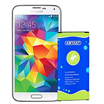 Galaxy S5 3500mah Battery AMYANT Li-ion Replacement Battery Galaxy S5,EB-BG900BBC,G900H,G900A AT&T ,G900TR,G900P Sprint ,G900T T-Mobile ,G900R U.S Cellular ,G900F I9600,G900V,G900P Without NFC