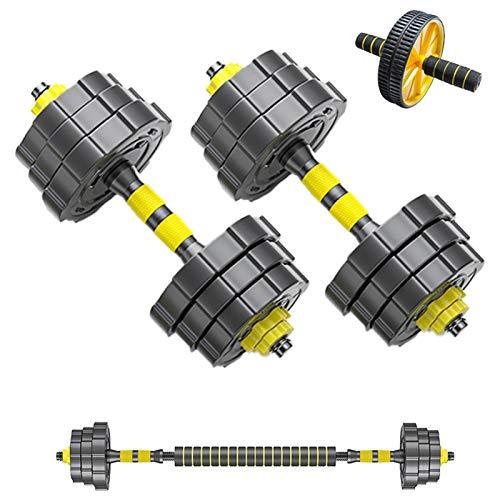 YQCH Juego de mancuernas ajustables de 2, 2 en 1, para gimnasio en casa, rodillo AB, mancuernas de ejercicio para hombres y mujeres (color 15 kg x 2)