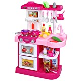 Temi Kitchen Playset Pretend Food - 34 PCS Kitchen Toys for Toddlers, Toy Accessories Set w/ Real Sounds and Light, Suitable Height (Pink)