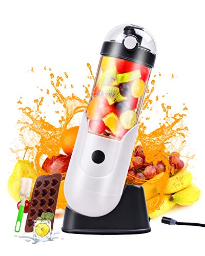 Portable Personal Size Blender, Battery Can Be Removed, Waterproof Mini Blender for Smoothies,Juice and Shakes, Small Mixer Frozen with 12 Oz Travel Cup Magnetic Base Kitchen Home,Travel,Office