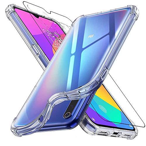 ebestStar - kompatibel mit Xiaomi Mi 9 Lite Hülle Silikongel Handyhülle Klar TPU, verstärkten Ecken, Transparent +Panzerglas Schutzfolie [Mi 9 Lite: 156.8 x 74.5 x 8.7mm, 6.39'']