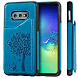 S10e Galaxy Samsung,TACOO Leather Card Cash Blue Slot Protective Cover Durable Shell Kickstand Soft Unisex Boy Girl ID Window Men Women