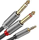 Cavo Audio Jack AUX 3,5mm Maschio a Doppio 6,35mm Maschio Mono ,per Smartphone Tablet PC Cuffie Altoparlante Amplificatore Mixer Audio ,1M Nylon