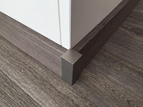 Eckstäbe für Sockelleisten | Edelstahl-look 4 Stück| Eckstück oder Endstück passend zu MDF-Leisten bis 60-mm | Fußbodenleisten Eck-Stab silber-metallig, Abschluss & Verbindungsstück