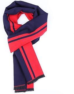 أوشحة شتوية ناعمة للنساء والرجال من الجنسين للتدفئة الرقبة للسفر - أحمر/أزرق داكن