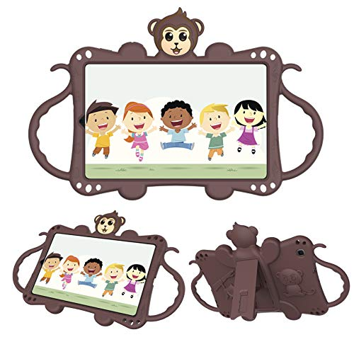 Macoku Kids Case for Samsung Galaxy Tab A 8.4 Inch Case 2020 Tablet (SM-T307/ T307U), Shockproof Protective Handle with Shoulder Strap Stand Cover Silicone Tablet Case Lovely Cute Monkey (Brown)