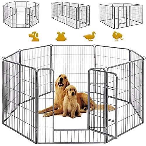 ペットフェンス 中大型犬用 ペットサークル フェンス バリアゲート小動物用 犬 大型ペットフェンス カタチ変更可 扉付き 室内外兼用 パネル8枚 折り畳み式 組立簡単 犬ケージ (グレー-100x80cm)
