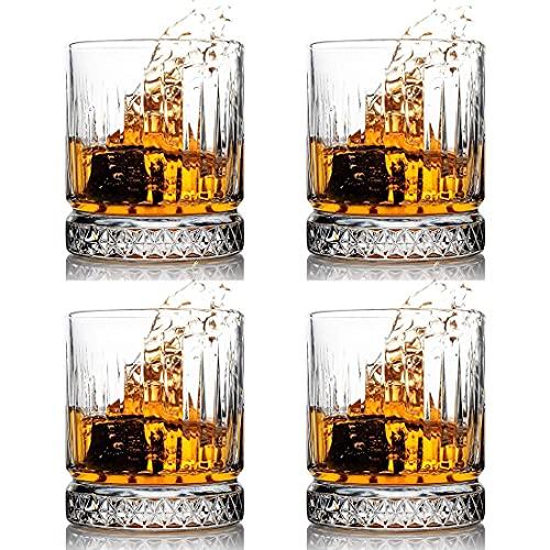WOMEI - Bicchieri da whisky in cristallo da 354 ml, per scotch, bourbon, liquori, bicchieri stile antico, set da 4