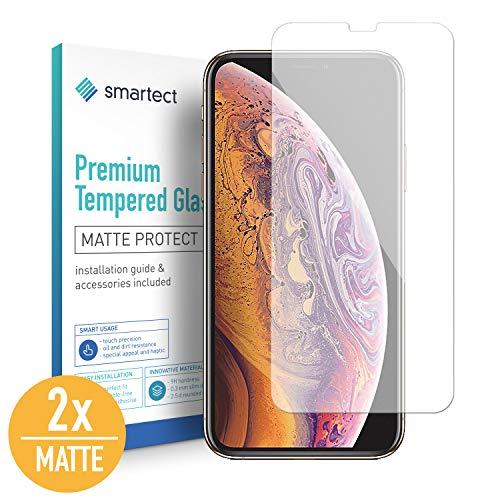 smartect Mat Beschermglas compatibel met iPhone Xs Max [2x Matte] - screen protector met 9H hardheid - bubbelvrije beschermlaag - antivingerafdruk kogelvrije glasfolie