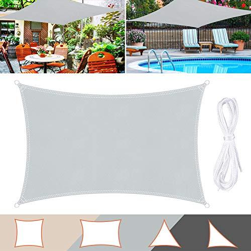 Wokkol Sonnensegel, Sonnenschutz Sonnensegel Wasserdicht, Sonnenschutz Balkon Hergestellt aus Hochwertigem Polyester mit UV Schutz, 160 g/m2 für Garten/Balkon/Terrasse (Grau, 2M*3M)