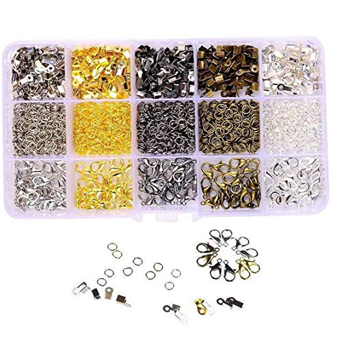 ZYCX123 1 Caja de 15 Rejillas de joyería Hecha a Mano multifunción Accesorios Langosta Hebilla DIY joyería Que Hace los apoyos de pequeños Anillos de Metal para la Pulsera del Collar