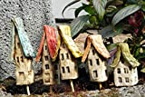 5 Keramik Häuser bunt beige Beetstecker Gartendeko Sommer
