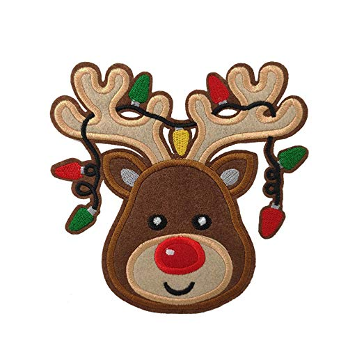 Large Reindeer with Christmas Light Embroidered Iron On Sew On Patch for Kids Children (5 inches Tall)