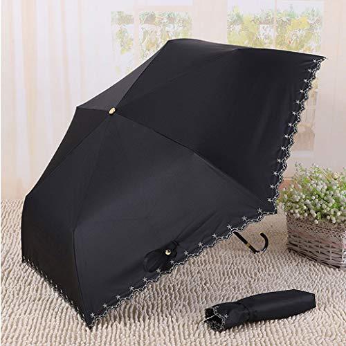BHYDRY Paraguas de aleación de Aluminio con Tres Pliegues para protección Solar Negro Negro
