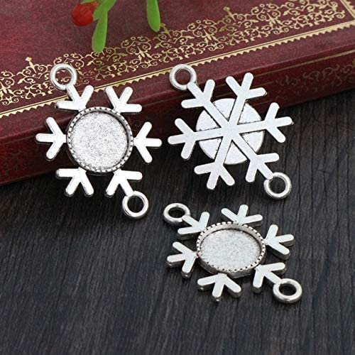 Triangle-Box - 20pcs 12mm Inner Size Antique Silver Plated and Black Snowflake Christmas Connector Cabochon Base Cameo Setting Charms Pendant - A2-10