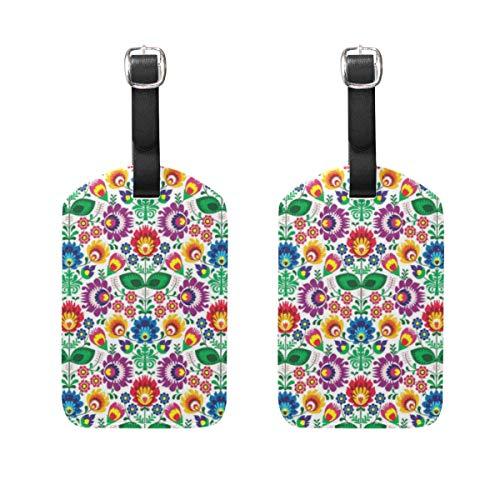 WINCAN Gepäckanhänger (Sortiert, 2 PK),Nahtloses traditionelles polnisches VolksblumenmusterGepäckanhänger, Kofferanhänger für Rucksäcke