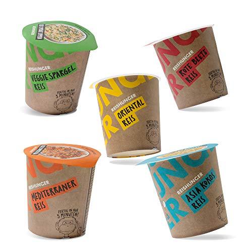 Reishunger Reisbecher Probier Set (5 Becher) - Leckere Mahlzeit in 5 Minuten - Fertiggericht, 100% Natürlich, ohne Zusätze, Asia Kokos, Mediterran, Rote Beete, Orientalisch, Veggie Spargel