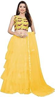 فستان Lehenga Choli النسائي ذو شبكة ناعمة بلون ذهبي
