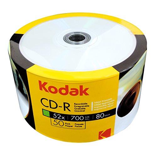 Kodak CD-R 700Mb|80Min 52-fache Schreibgeschwindigkeit, vollflächig bedruckbar (Tintenstrahldrucker), 50er Pack in Folie (Shrink)