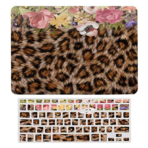 Case for MacBook Leopard Fur Spots Jaguar Animal Floral Flower Plastic Pattern Hard Case & Keyboard Cover Only Compatible with MacBook New Pro 13 Touch (models: A1706、A1989、 A2159)