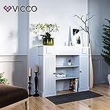 Vicco Kaminumrandung im Landhaus Stil mit Tür 119,5 x 103 cm in Weiß - Umbau Sims Rahmen Konsole Kamin Elektrokamin Gelkamin - 2