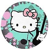 WSXEDC Alfombra Redonda de Hello Kitty Música para Interior/Exterior 23,6 Pulgadas de diámetro para decoración del hogar