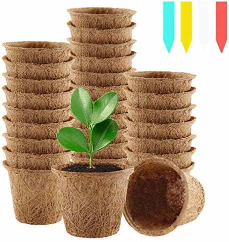 YBB 30 Pack Coco Coir Seed Starter Pots 2 6 Inch Biodegradable Nursery Seedling Pots Germination product image