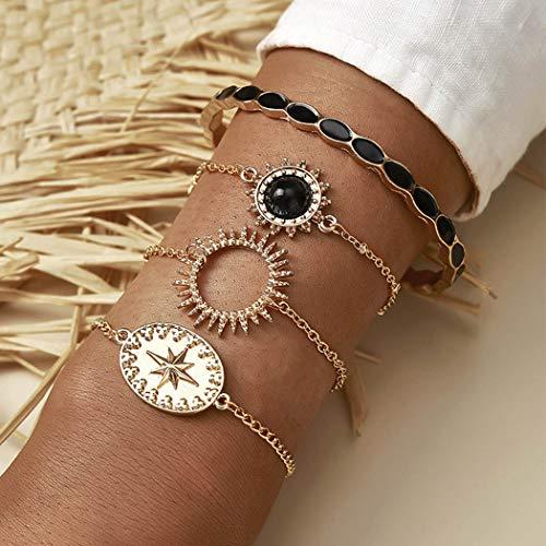 Handcess Pulseras bohemias negras turquesas doradas, pulsera de sol, cadena de mano, accesorios punk, mano para mujeres y niñas (4 piezas)