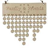 Jeash Christmas Decorative DIY Calendar Wood Birthday Reminder Board Birch Ply Plaque Sign Family Friends...