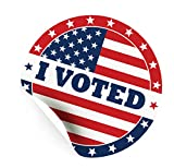 I Voted Stickers with American Flag, 2 Inch Large Round Self Adhesive Labels in Red, Blue, and White for Elections and Voting, 500 Stickers per Roll