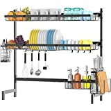 Dish Rack Above Sink, Ace Teah 2 Tier Dish Drying Rack Over Sink Stainless Steel for Kitchen Supplies Storage Utensil Organizer, Black