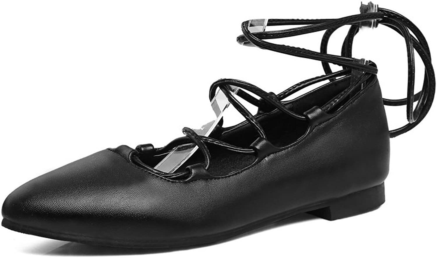 A&N Womens Pointed-Toe Lace-Up Square Heels Urethane Flats shoes