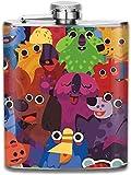 wonzhrui Abstract Cartoon Animal Design 3D Print Hip Bottle 7oz Portable Pocket Bottle Bag Bottle Camping Stainless Steel Wine Bottle Suitable for Unisex