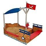 KidKraft- Arenero de madera para niños, diseño de galeón pirata, para jardín y exteriores , Color Multicolor (128)