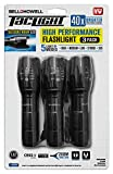 TACLIGHT FLASHLIGHT As Seen On TV Set of 3 by Bell and Howell LED Tactical Flash light Shock Water Resistant Military Grade Ultra Bright with 5 Modes and Zoom Function (40x Brighter) Black