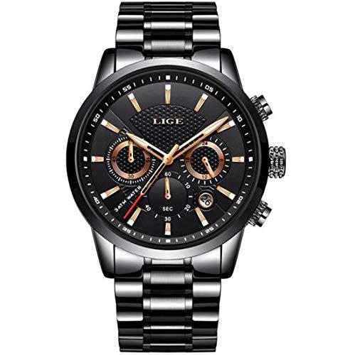 LIGE - Reloj de Pulsera para Hombre, Resistente al Agua, Acero Inoxidable, analógico, Cuarzo, cronógrafo, Fecha, cronógrafo…