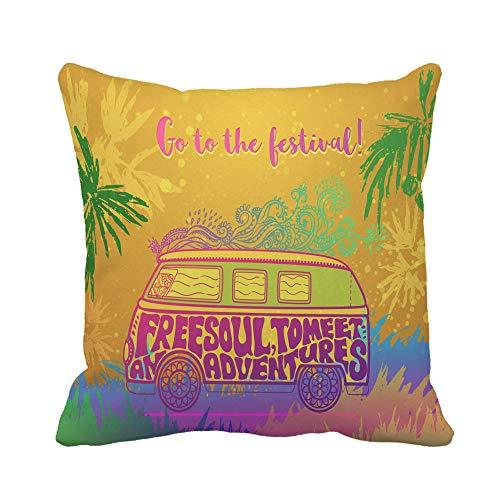 N\A Throw Pillow Cover Hippie Vintage Car Mini Van Adornado Love and Music Funda de Almohada Decorativa para el hogar Funda de Almohada Cuadrada Funda de cojín