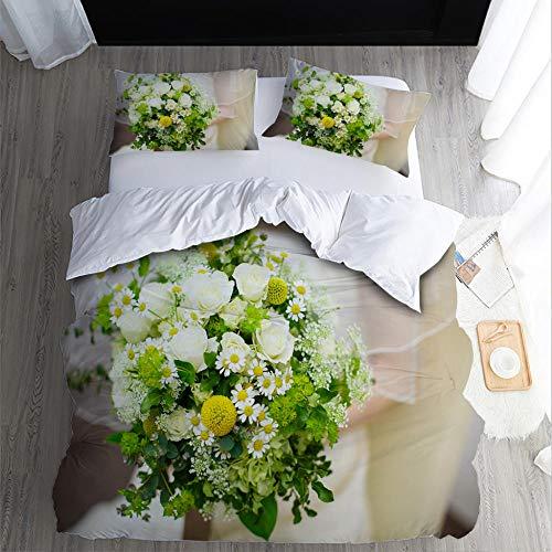 RYQRP King Size Duvet Cover Set Flowers Plants Quilt Cover Bedding Set with Hidden Zipper Microfiber, Bedding Quilt Cover 230x220cm with 2 Pillowcases for Kids Teens Adults