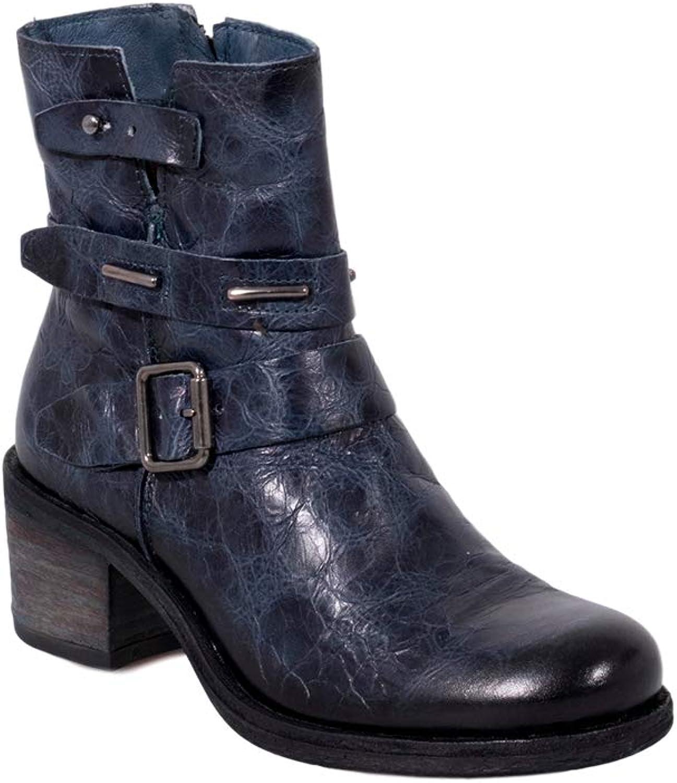 Felmini - Damen Schuhe - Verlieben Giani B285 - Reiverschluss Stiefel - Echtes Leder - Blau
