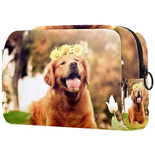 Trousses à cosmétiques pour Femmes, Trousses de Maquillage Pochette de Toilette spacieuse Accessoires de Voyage Cadeaux - So Happy Dog